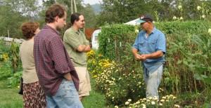 Tapahpunja dasa teaches students at the Small Farm Training Center in New Vrindaban