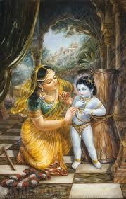 Mother Yasoda trying to bind Lord Damodara Krsna.