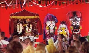 Janmastami, 1972. Devotees of the Lord take advantage of His appearance day to make a holy pilgrimage to New Vrndavana where Their Lordships Sri Sri Radha Krishna and Jagannatha, Subhadra and Balarama–all forms of Krishna–preside.