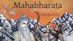 The front cover art of Sankirtana Das' Mahabharata book.