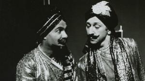 Lokamangala Das and Sankirtana Das (right) perform their two-man Mahabharata Off-Broadway in New York City.