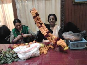 New Vrindaban Mangalacarana dasi flower garland Radha Vrindaban Chandra