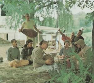 New Vrindaban Radhanath, Bidan Chandra (Standing Drum) Dulal (Drum), Radha Kanta (harmonium) Kirtananda (with Cane) Bahulaban summer 1973