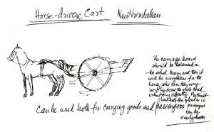 New Vrindaban Prabhupada horse cart drawing 1969