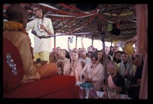 New Vrindaban Prabhupada look at devotees during Bhagavat Dharma discourse Govindaji Hill 1972