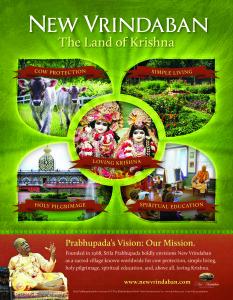 New Vrindaban ISKCON ECO-Vrindaban Prabhupada Vision Mission 2015