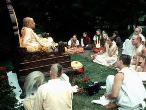 Prabhupada's Evening Darshan With Devotees On Yellow Satin Vyasasan at Madhuban Farm - New Vrindaban 1976