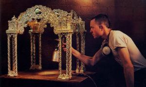 Kumar Das works on an altar in the mold shop