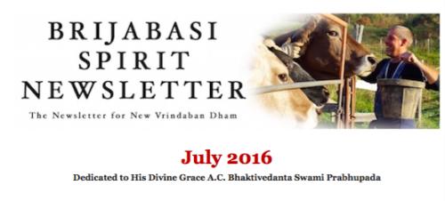 July 2016 Brijabasi Spirit Newsletter